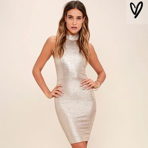 Lulus Diamond Heart Gold Dress
